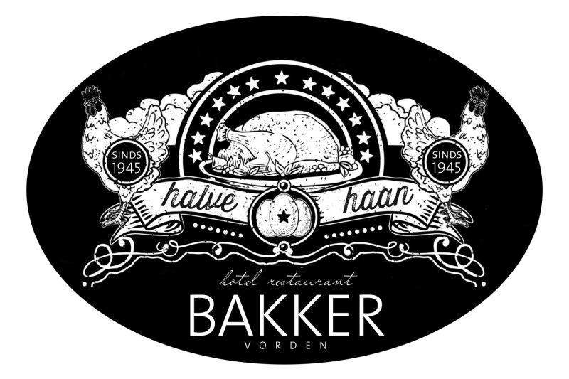 Sticker Halve Haan à la Restaurant Bakker in Vorden